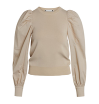 Co'couture Co'Couture Mercia top met pofmouwen beige