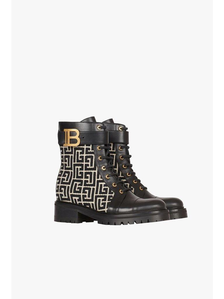 Balmain Balmain combat boots met monogram zwart