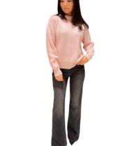 Be You Be You sweater met opstaande kraag licht roze