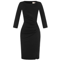 Rinascimento Rinascimento midi jurk met gedrapeerd details zwart