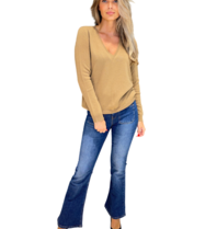 Be You Be You trui met v-hals camel