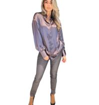 Est'seven Est'Seven One silk blouse Eiffel Tower grey