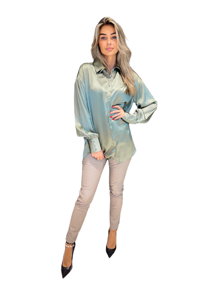 Est'seven Est'Seven One silk blouse Vertiver army green