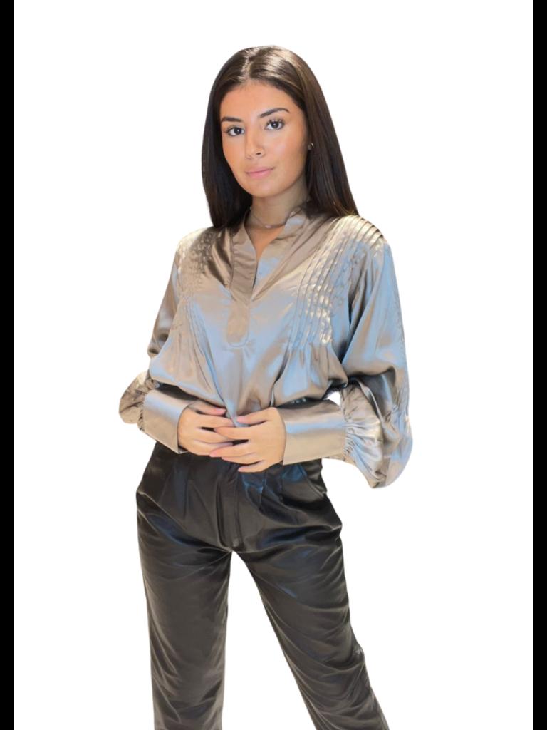 Est'seven Est'Seven Solo silk blouse simply taupe