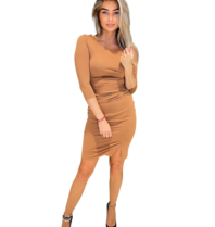 Rinascimento Rinascimento midi jurk met gedrapeerd details bruin