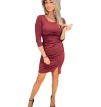 Rinascimento Rinascimento midi jurk met gedrapeerd details rood