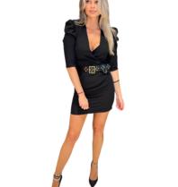 Rinascimento Rinascimento jurk met zwarte riem zwart