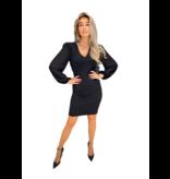 Rinascimento Rinascimento jurk met v-hals en transparante mouw zwart