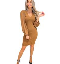 Rinascimento Rinascimento jurk met v-hals en transparante mouw bruin