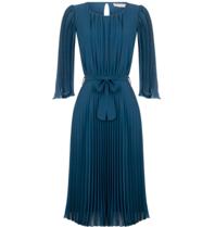 Rinascimento Rinascimento midi plisse jurk met ceintuur petrol groen