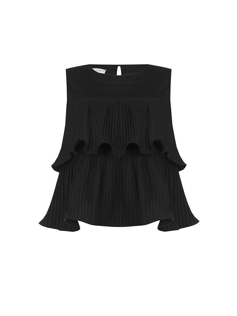 Rinascimento Rinascimento mouwloze top met plisse details zwart