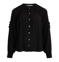 Co'couture Co'Couture Cora pleat blouse zwart