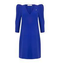 Rinascimento Rinascimento jurk met pofmouwen en v-hals cobalt blauw