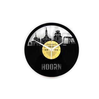 """Klok """"Hoorn"""" van gerecycled Vinyl"""