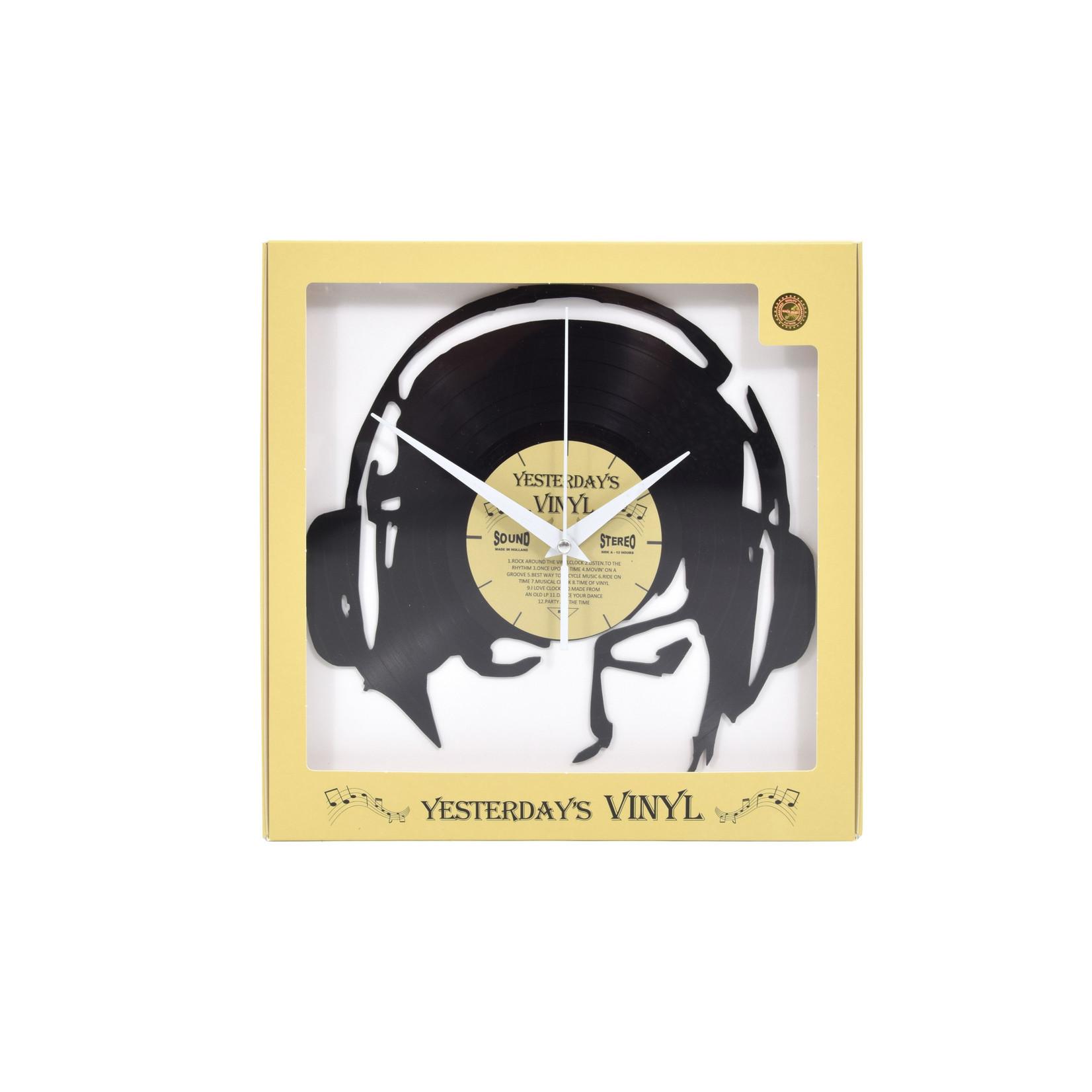 """Klok """"Koptelefoon"""" van gerecycled Vinyl"""