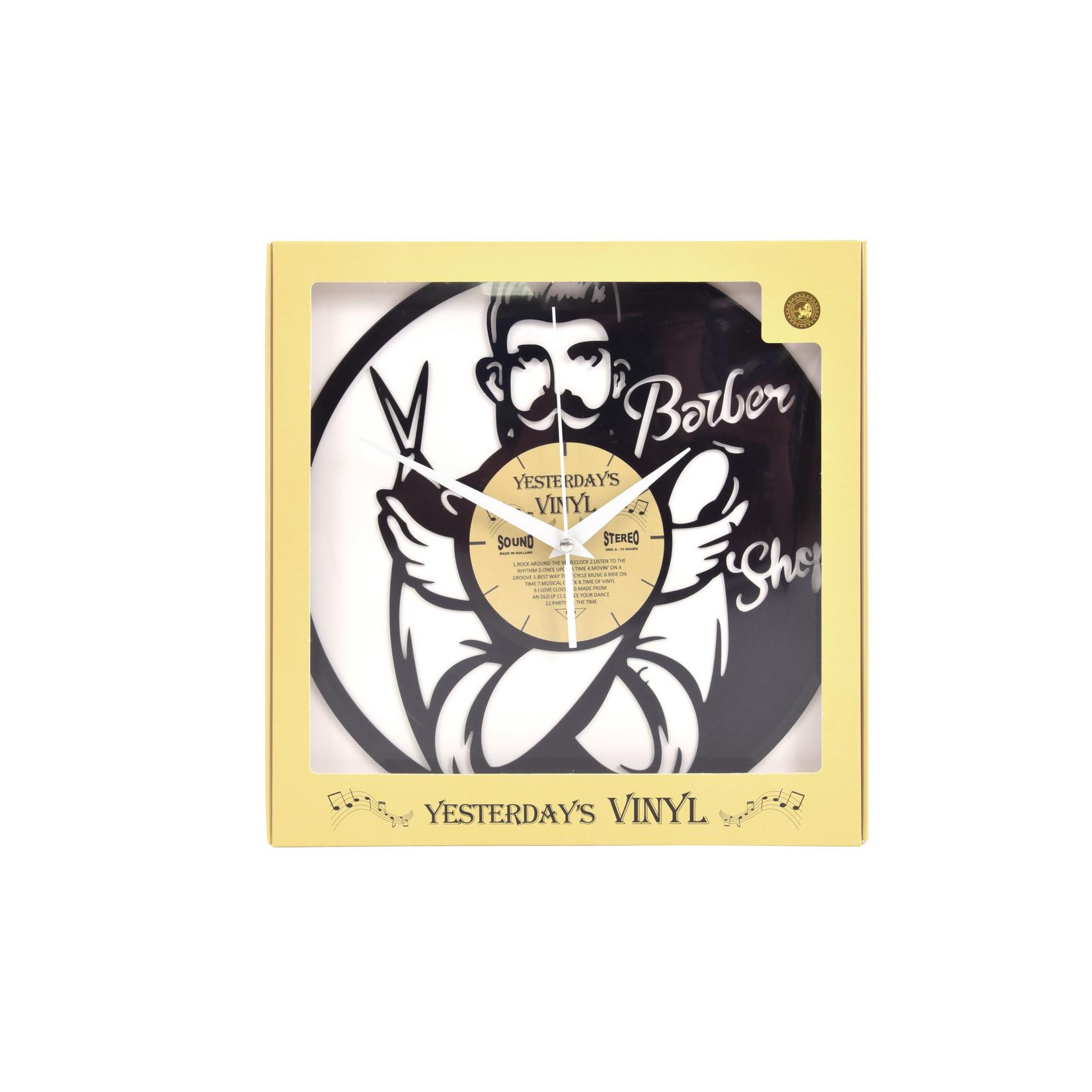 """Klok """"Barber"""" van gerecycled Vinyl"""