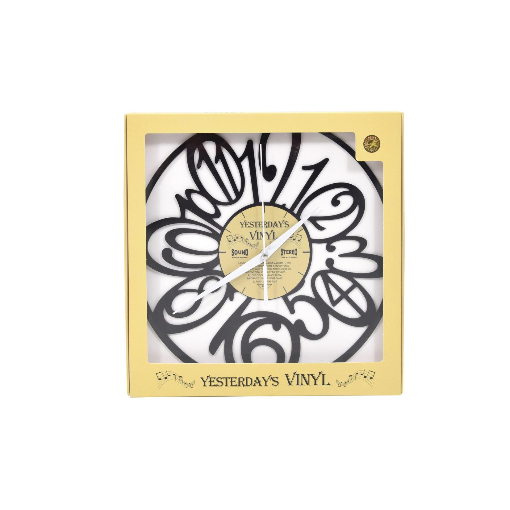 "Klok ""Cijfers Retro"" van gerecycled Vinyl"