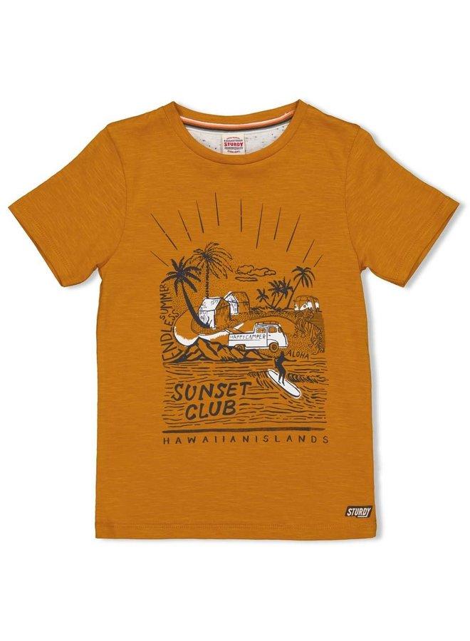 T-shirt - Happy Camper (Okergeel)