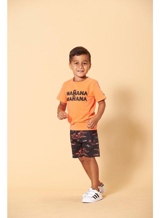 T-shirt - Happy Camper (Neon koraal)