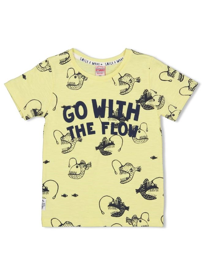 T-shirt AOP - Smile & Wave (Geel)