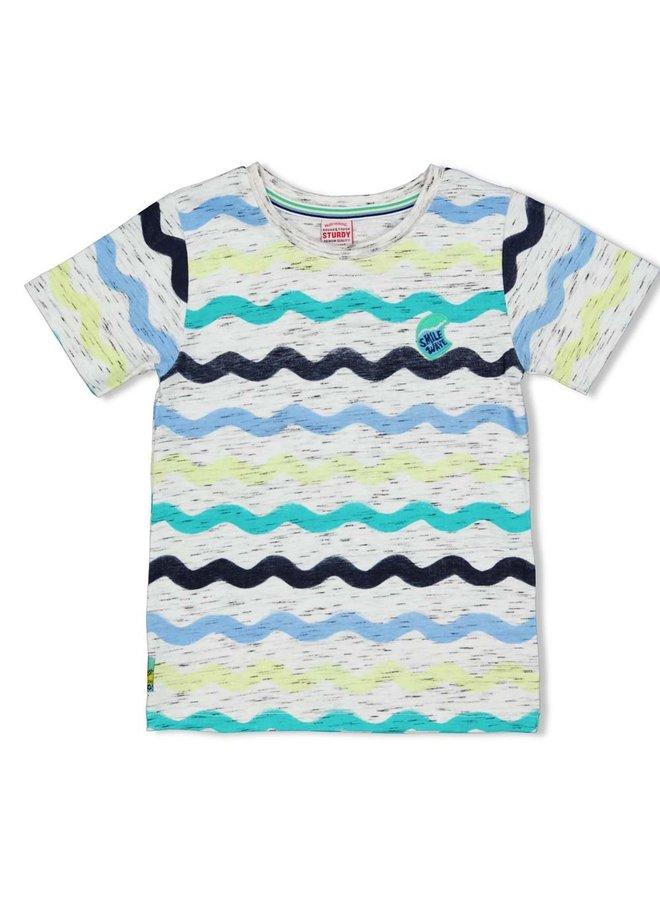 T-shirt AOP - Smile & Wave (Wit)