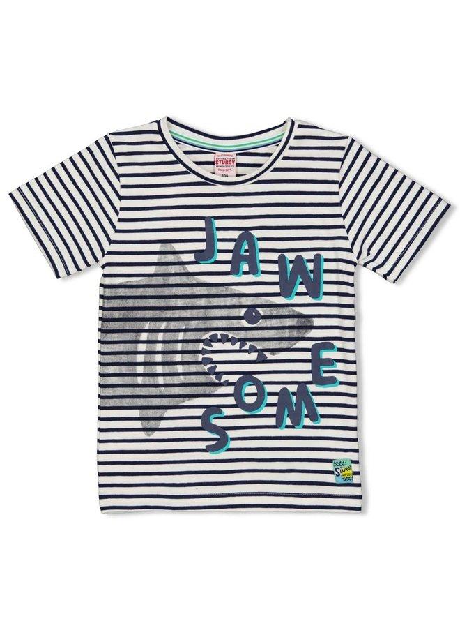 T-shirt streep - Smile & Wave (Indigo)