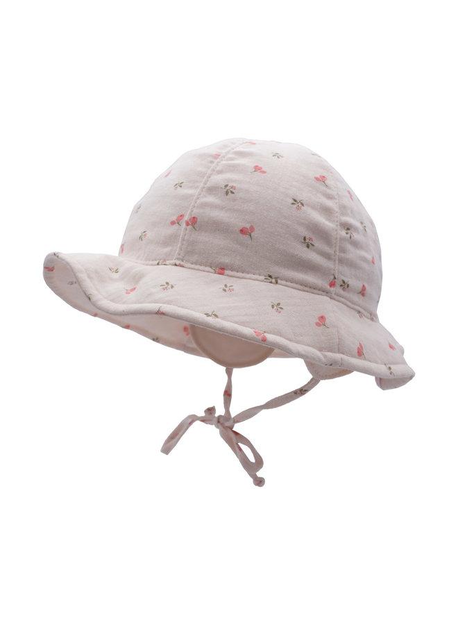GOTS MINI GIRL-hat (Blassrosa-pink-blumchen)