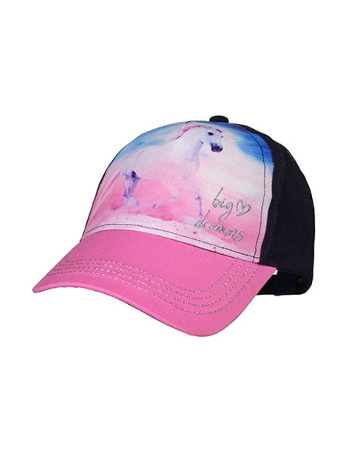"""KIDS GIRL-Cap """"horse"""" Lurex (Navy/pink rose)"""