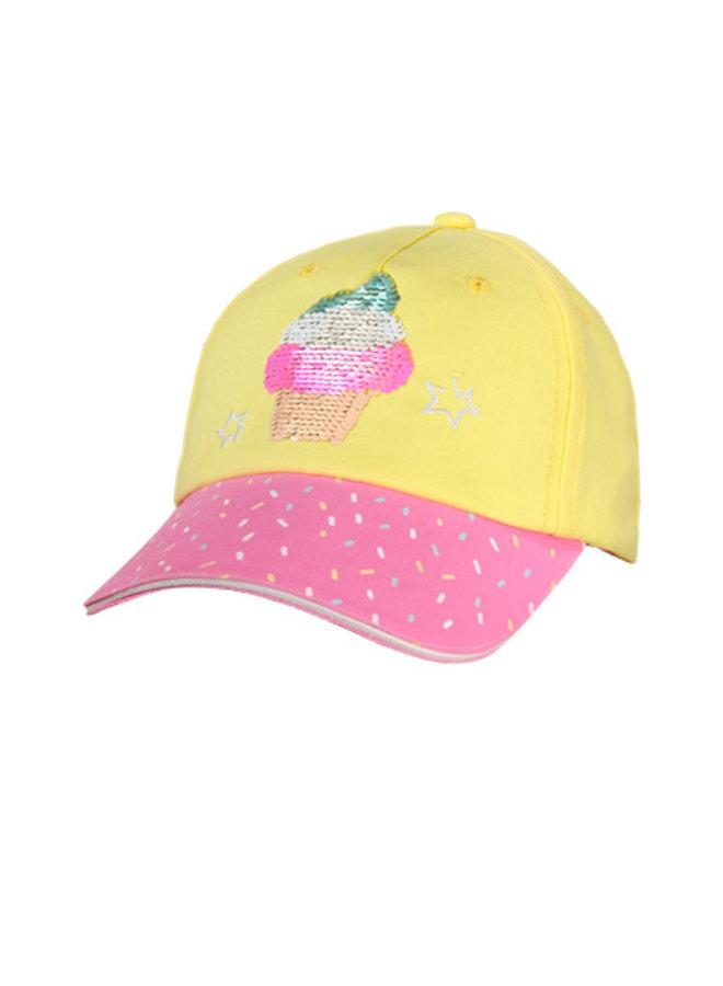"""KIDS GIRL - cap """"ice"""" (Hellgelb/rosa nelke)"""