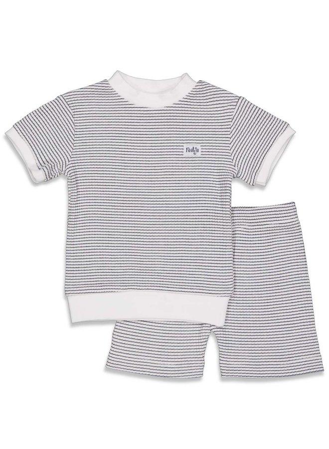 Pyjama kort wafel (marine) 305.539.1