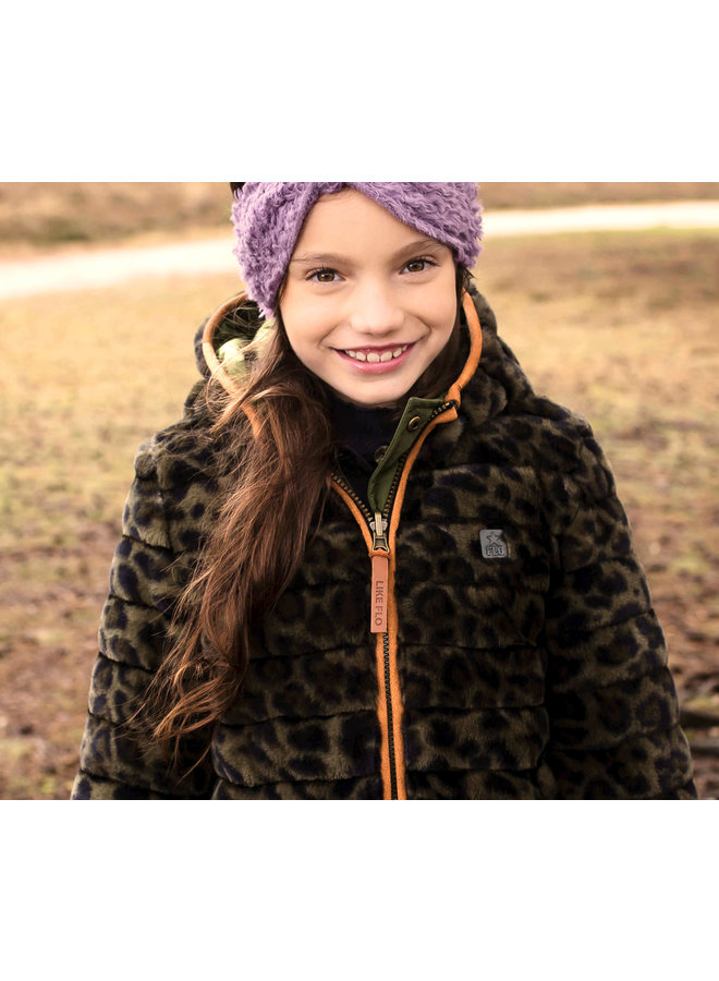 Flo girls reversible hooded long jacket F107-5202 Army