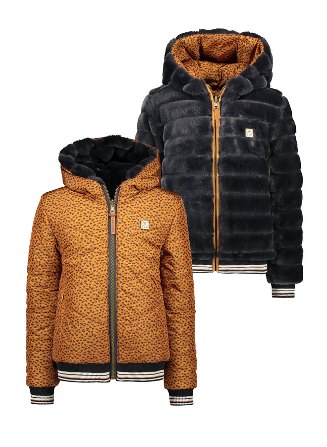Flo girls reversible hooded jacket F107-5205 Camel