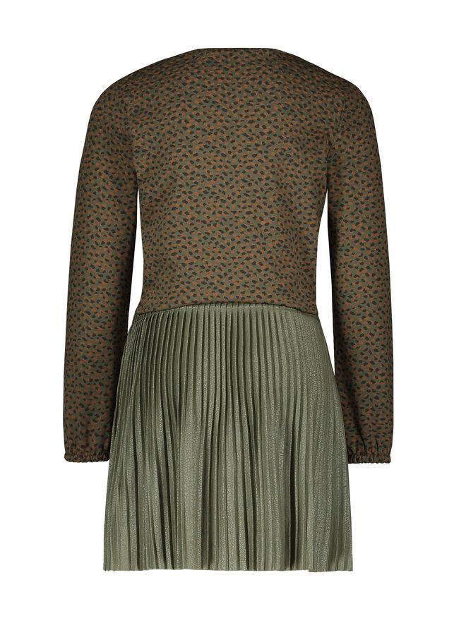 Flo girls jacquard dress pliss F108-5861 Army