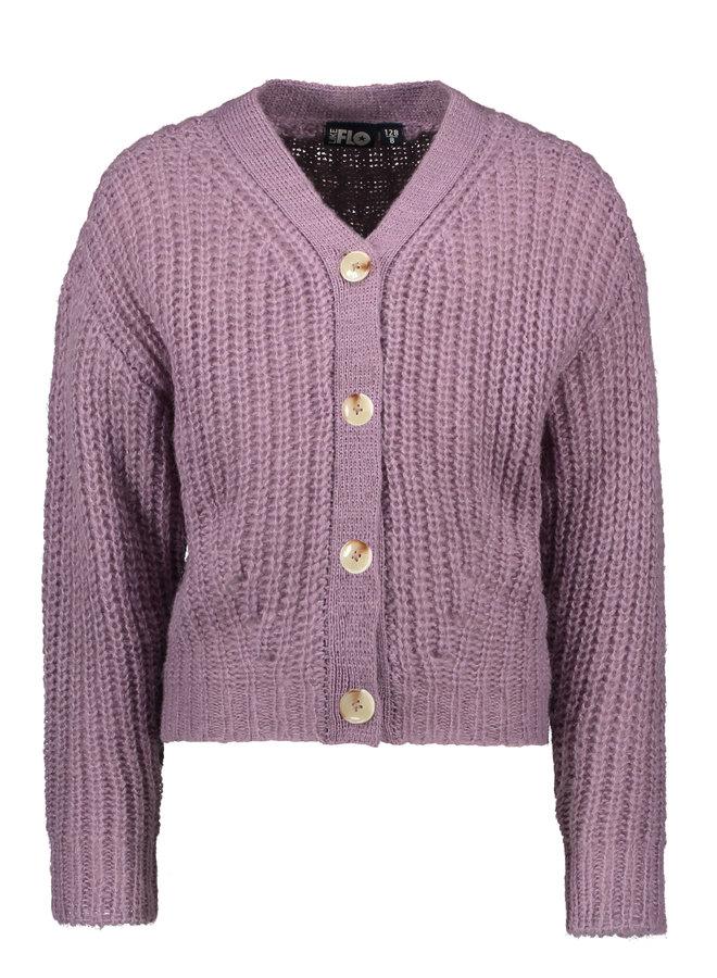 Flo girls rib knit cardigan horn button F108-5300 Lilac