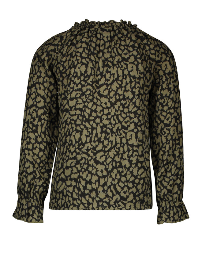 Flo girls fancy double fabric blouse F108-5110 Army