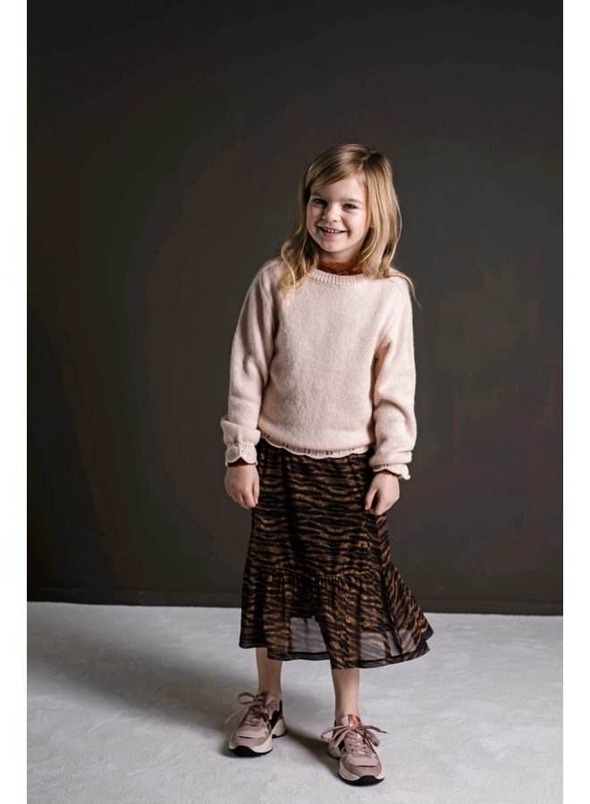 Flo girls knitted ajour sweater F108-5310 Apricot