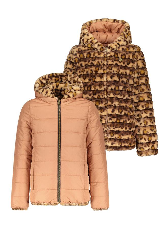 Flo girls reversible fur jkt F107-5250 Old pink