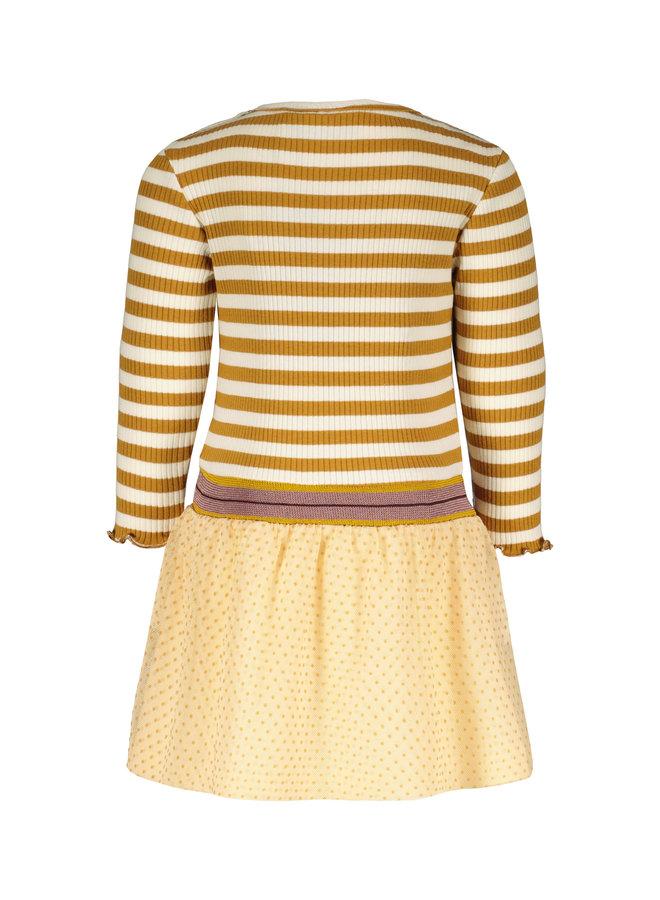Flo baby girls YD stripe dress with mesh skirt F108-7826 Camel