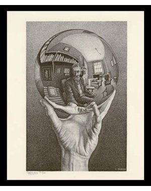 M.C. Escher | Hand with reflecting sphere | Ingelijst | no. 2 -  serie 57