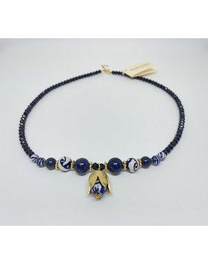 Ketting - Lapis parel tulp goud | Madame Blue