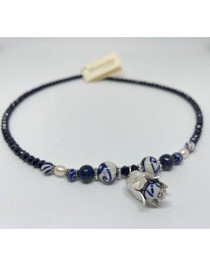 Ketting - Lapis parel tulp zilver| Madame Blue