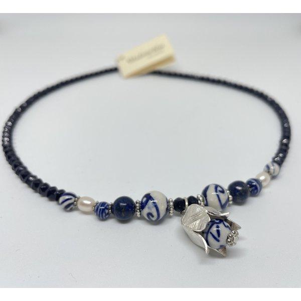 Madame Blue Ketting - Lapis parel tulp zilver| Madame Blue