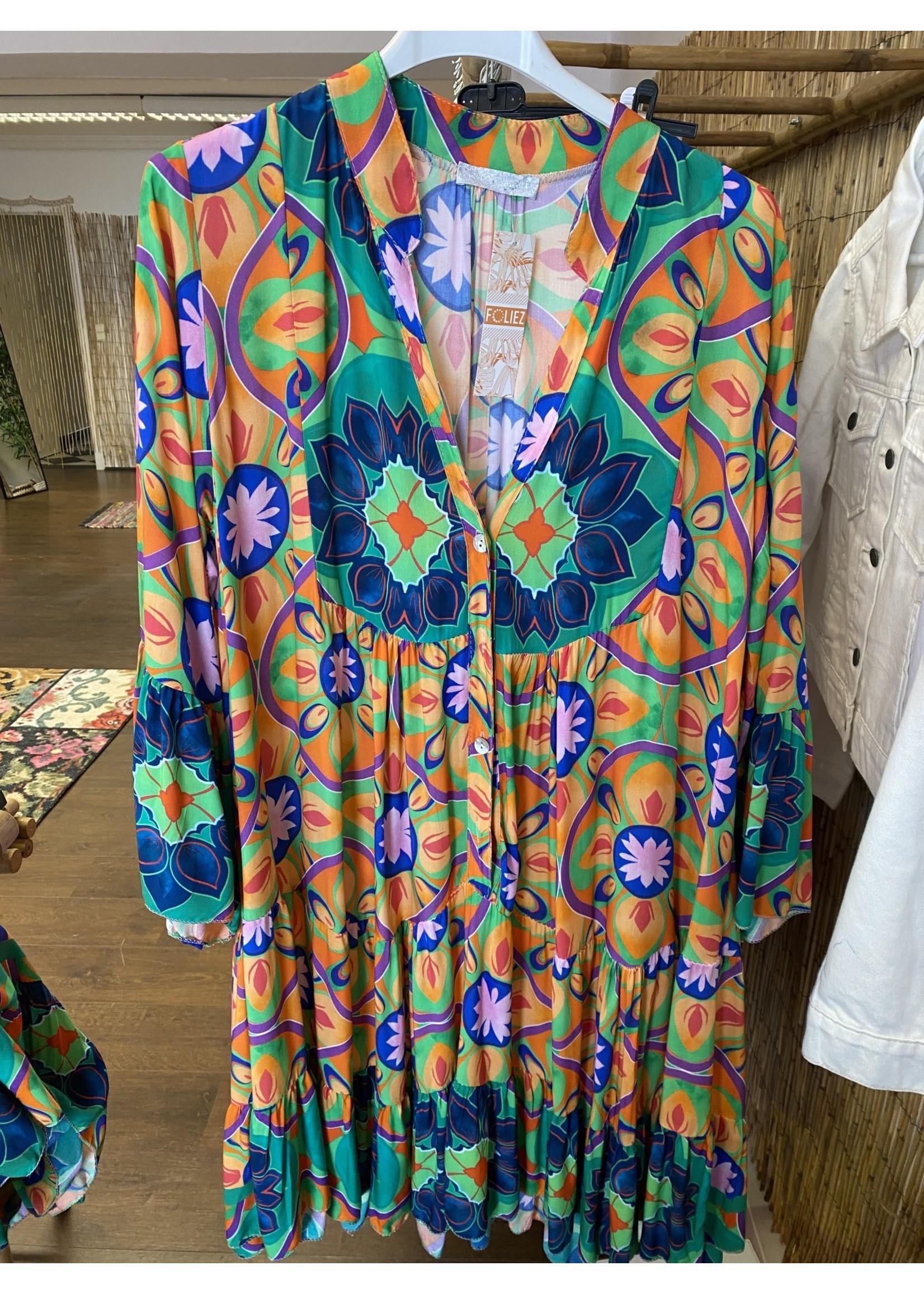 Kort kleedje multicolor 9802_Knokke