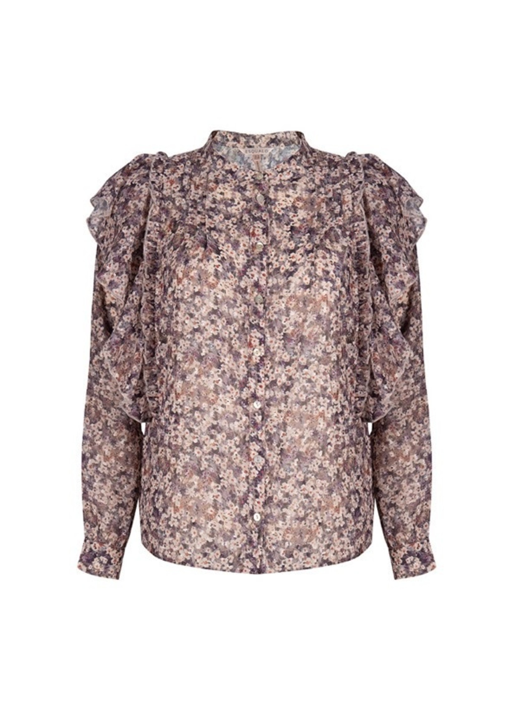 F21.15502 Blouse pintucks lilac floral Print