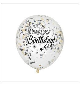"Confetti ballonnen ""Happy Birthday"" 6st"