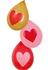 "Hartjes ballonnen ""Rood&Goud 6st"