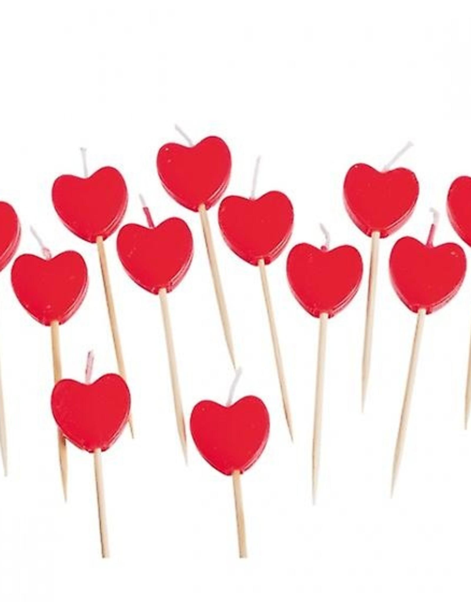 """Taartkaarsjes """" hart""""  8 stuks rood"""