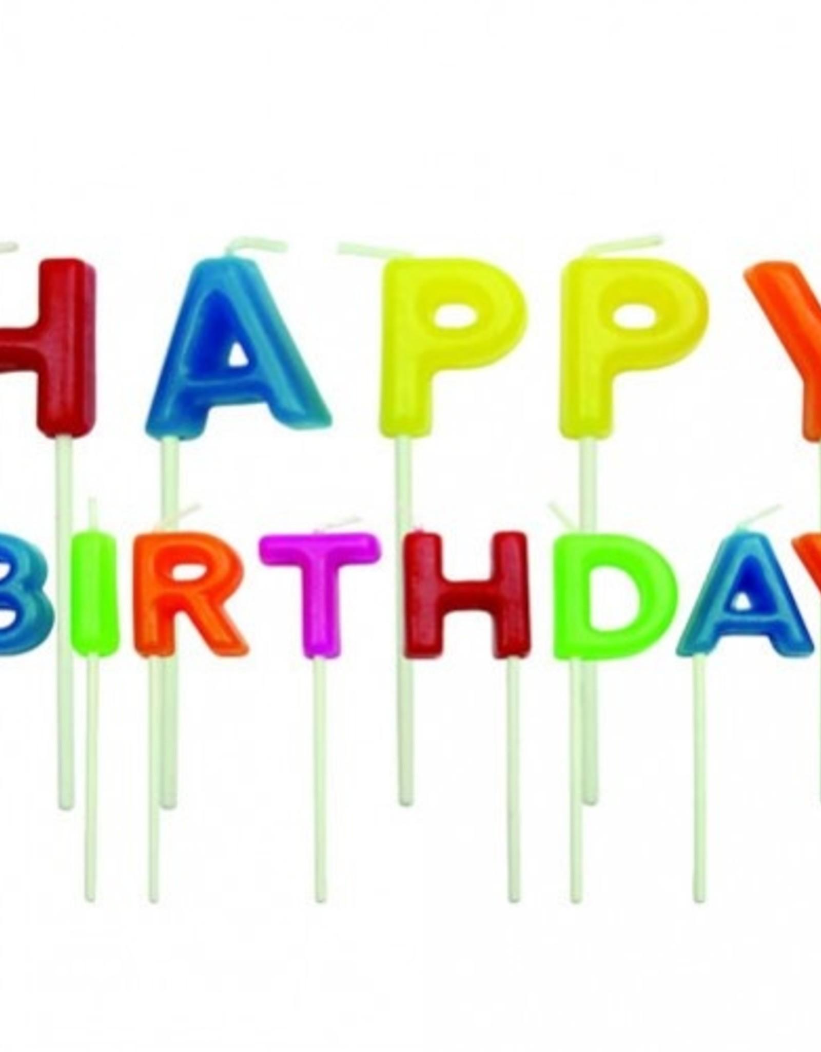Taartkaarsjes Happy Birthday 2 cm 13 stuks