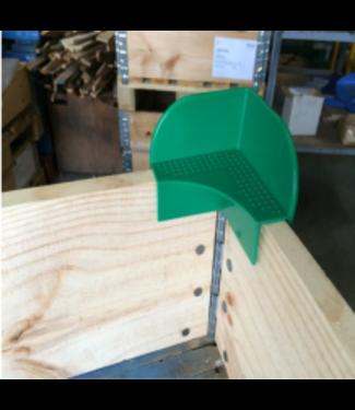 Kunststof stapelhoek voor opzetranden -  groen