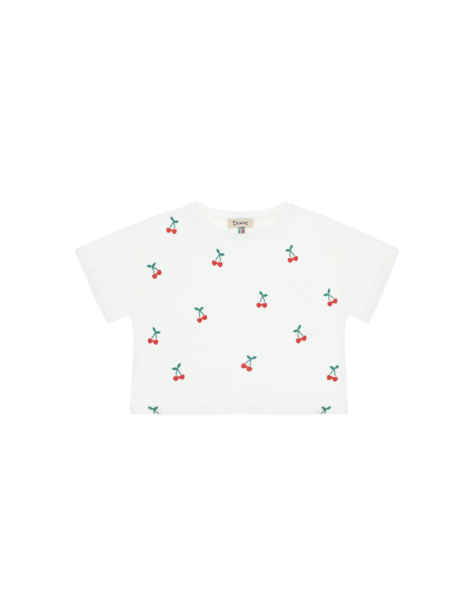 Dixie T-shirt wit kersjes
